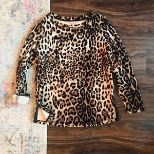 Tops - Long Sleeve Cheetah Print Top